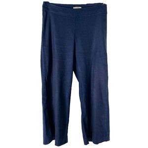 Alex Cropped Wide Leg Linen Pant in Navy